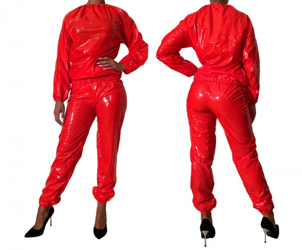 PVC sweat suit (red / lacquer)
