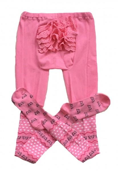 """Adult Baby Strumpfhose """"Rüschen"""" (Pink)"""