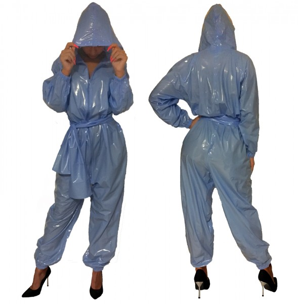 PVC-Overall-Hoody (light Blue / Lacquer)