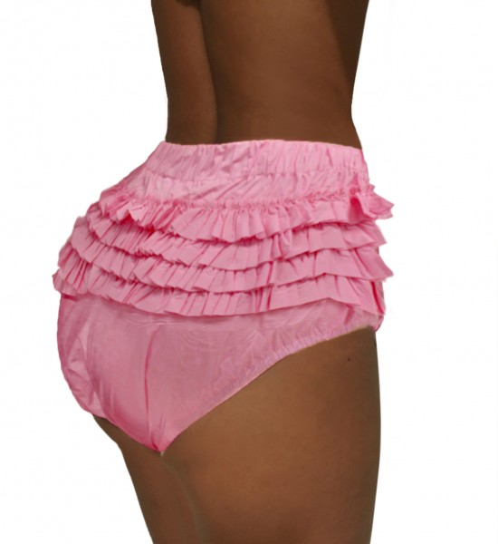 PVC panty with ruffles - pink