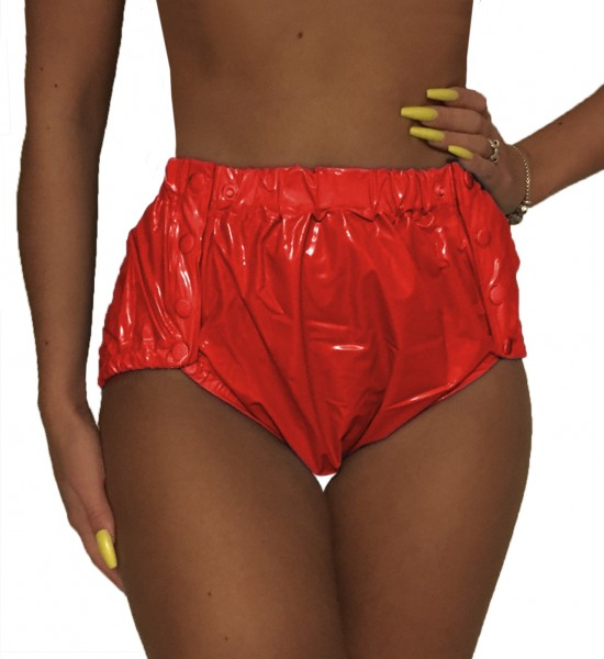 PVC protective trousers buttoned (red / lacquer)