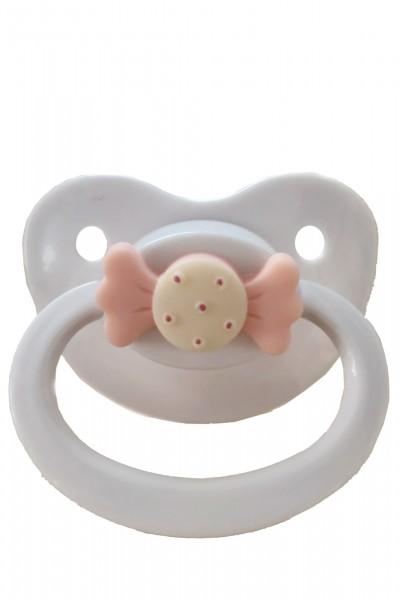 Adult Baby Schnuller mit Schleife (Weiß)