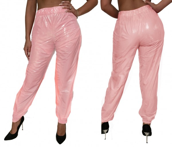 PVC trousers (pink / lacquer)