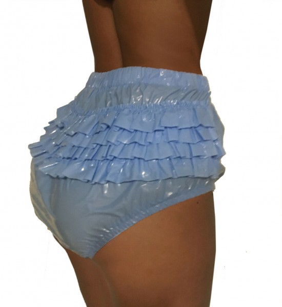 PVC panty with ruffles - light blue (lacquer)