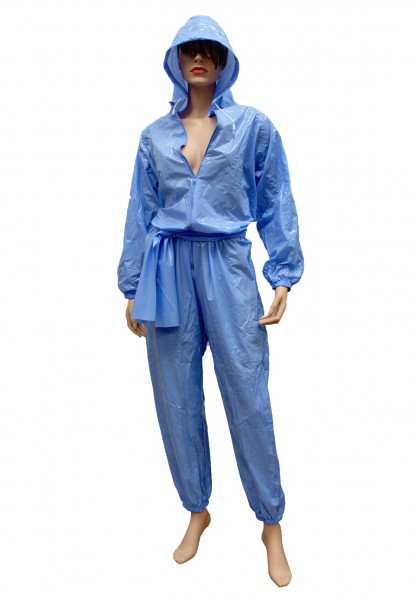 PVC-Overall-Hoody (Blau / Lack)