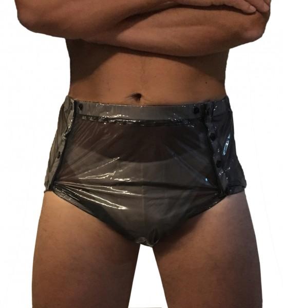 PVC-Schwedenhose (Schwarz-Lack-Transparent)