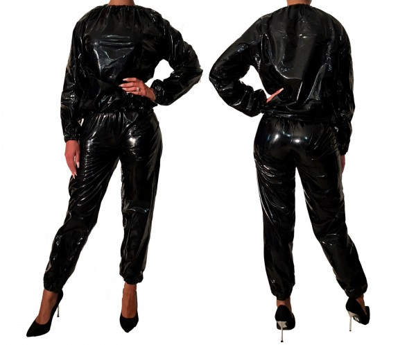 PVC suit - black (lacquer), stitched