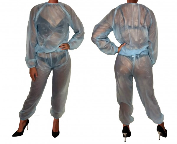 PVC sweat suit - light blue