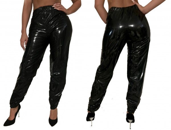 PVC jogging pants (Black / varnish)