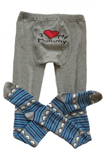 "Adult Baby Pantyhose ""I Love My Mommy"" (Grey)"