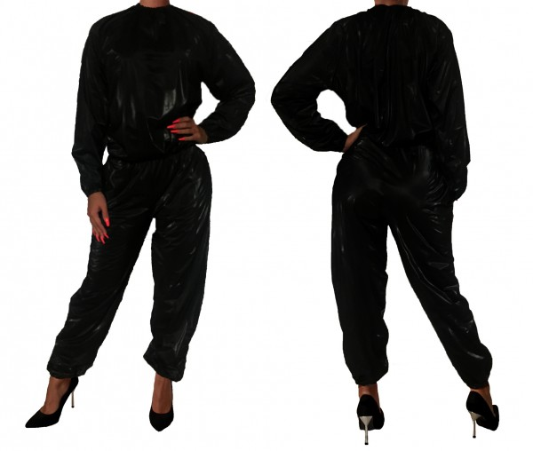PVC sweat suit - black