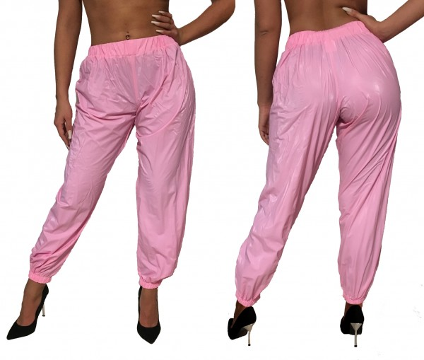 PVC jogging trousers (pink)