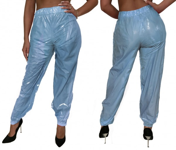 PVC trousers (light blue / lacquer)