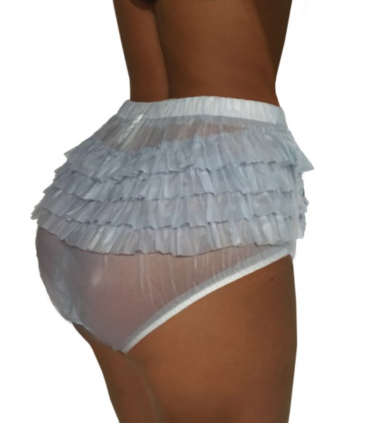 PVC panty with ruffles - light blue