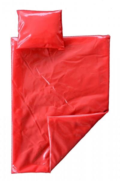 PVC-Bettgarnitur 135x200 cm (Rot / Lack)