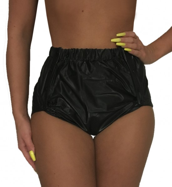 Fully welded PVC protective trousers buttoned (black)